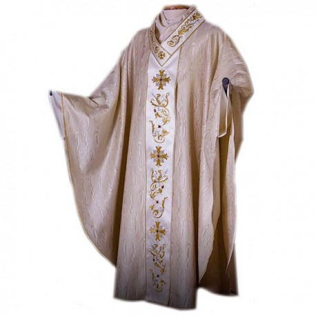 HAND-EMBROIDERED SILK AND WOOL CHASUBLE
