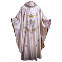 HAND-EMBROIDERED MARIAN SILK CHASUBLE