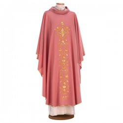 EMBROIDERED WOOL ROSE CHASUBLE