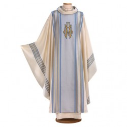 HAND-EMBROIDERED WOOL AND LUREX MARIAN CHASUBLE