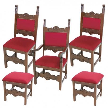 Serie di sedie sgabelli e poltrona in legno tinta noce o for Sedie e sgabelli