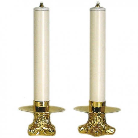 CANDLEHOLDERS COUPLE WITH SIMULATED CANDLE.