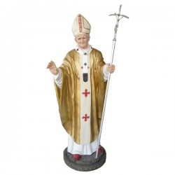 POPE JOHN PAUL II WITH METAL CROSIER