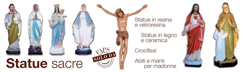 Statue sacre di varie misure in resina, vetroresina, in legno, similmarmo, porcellana e gesso, realizzate a mano in Italia.