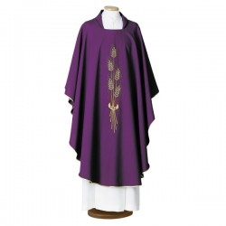 HAND-EMBROIDERED WOOL CHASUBLE