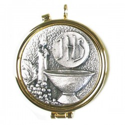 GOLDEN SHRINE WITH PEWTER PLATE