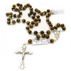 SILVER AND TIGER'S EYE ROSARY