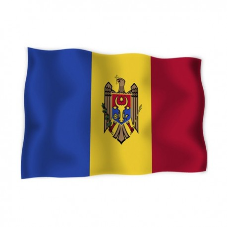FLAG OF MOLDOVA WITH THE COAT OF ARMS