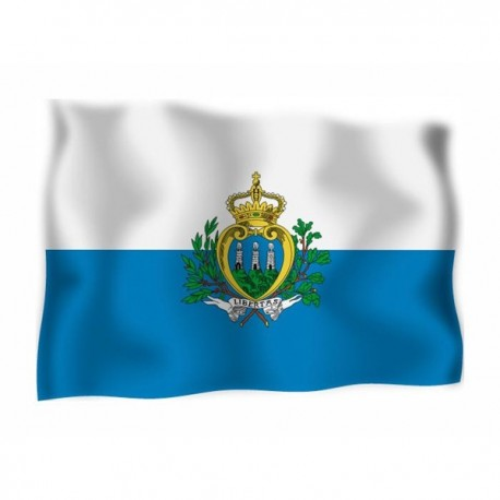 FLAG OF SAN MARINO, WITH THE COAT OF ARMS