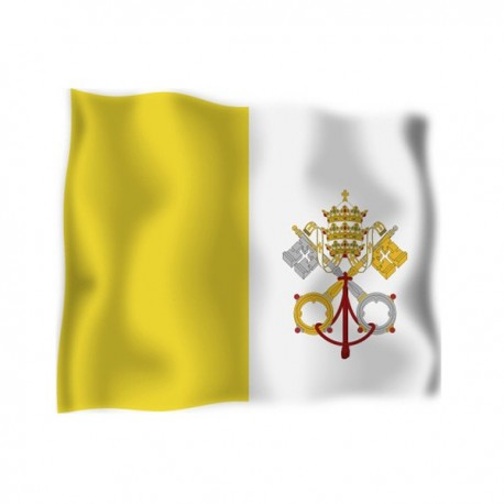 FLAG OF VATICAN CITY WITH THE COAT OF ARMS